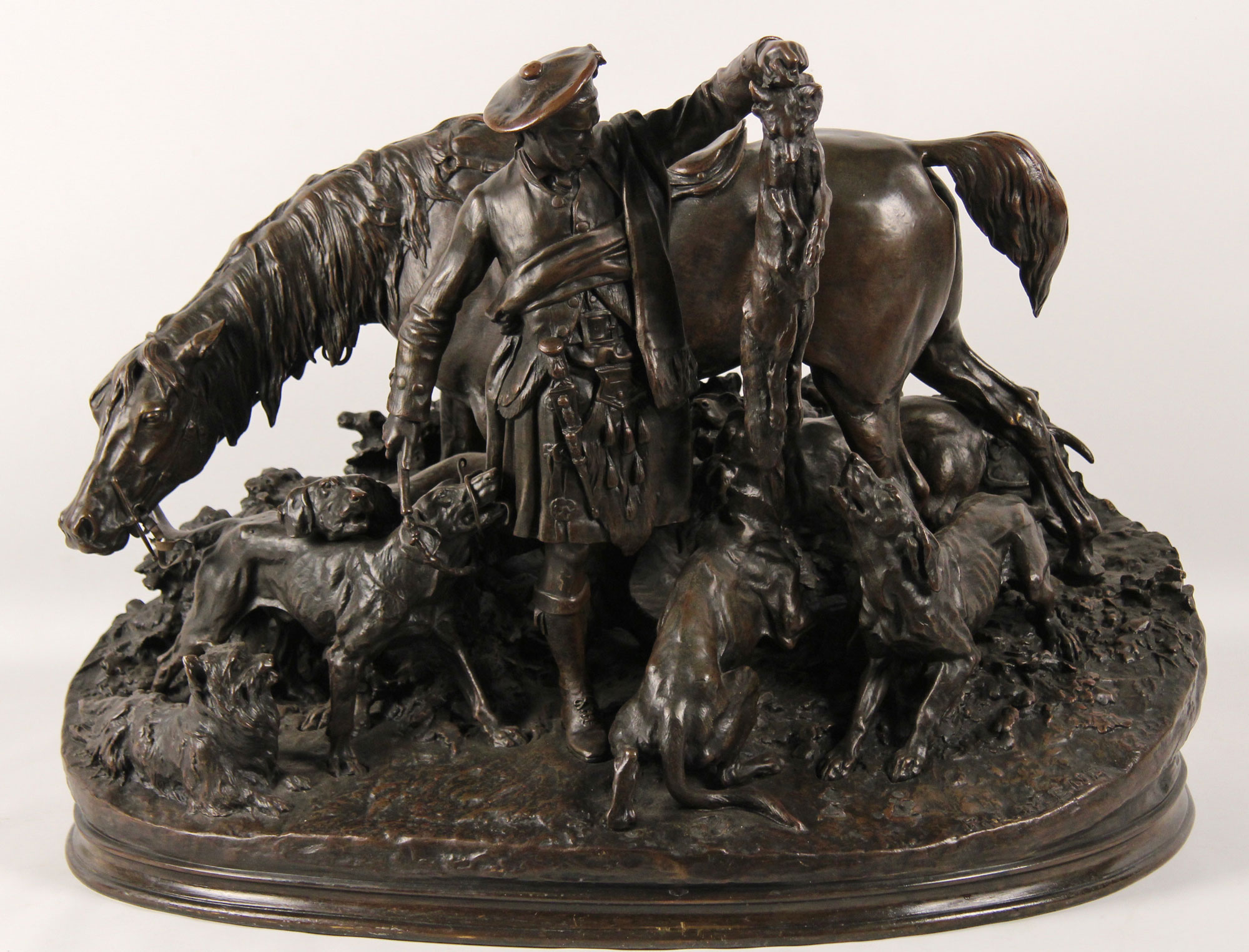 P.j.mene, French Bronze Of Scottish Hunter