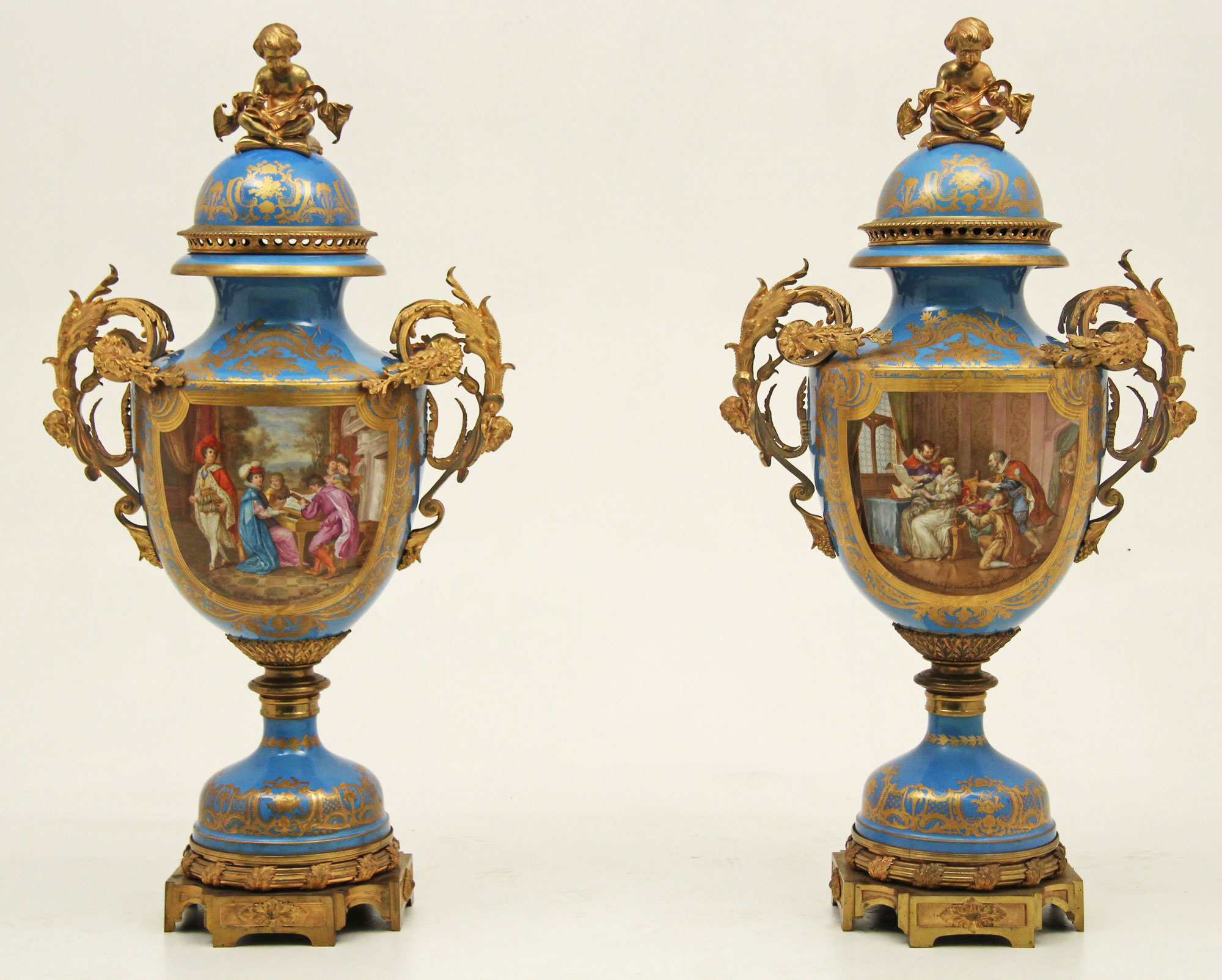 Pair Of 54″ Sevres Palace Vases Signed Leber
