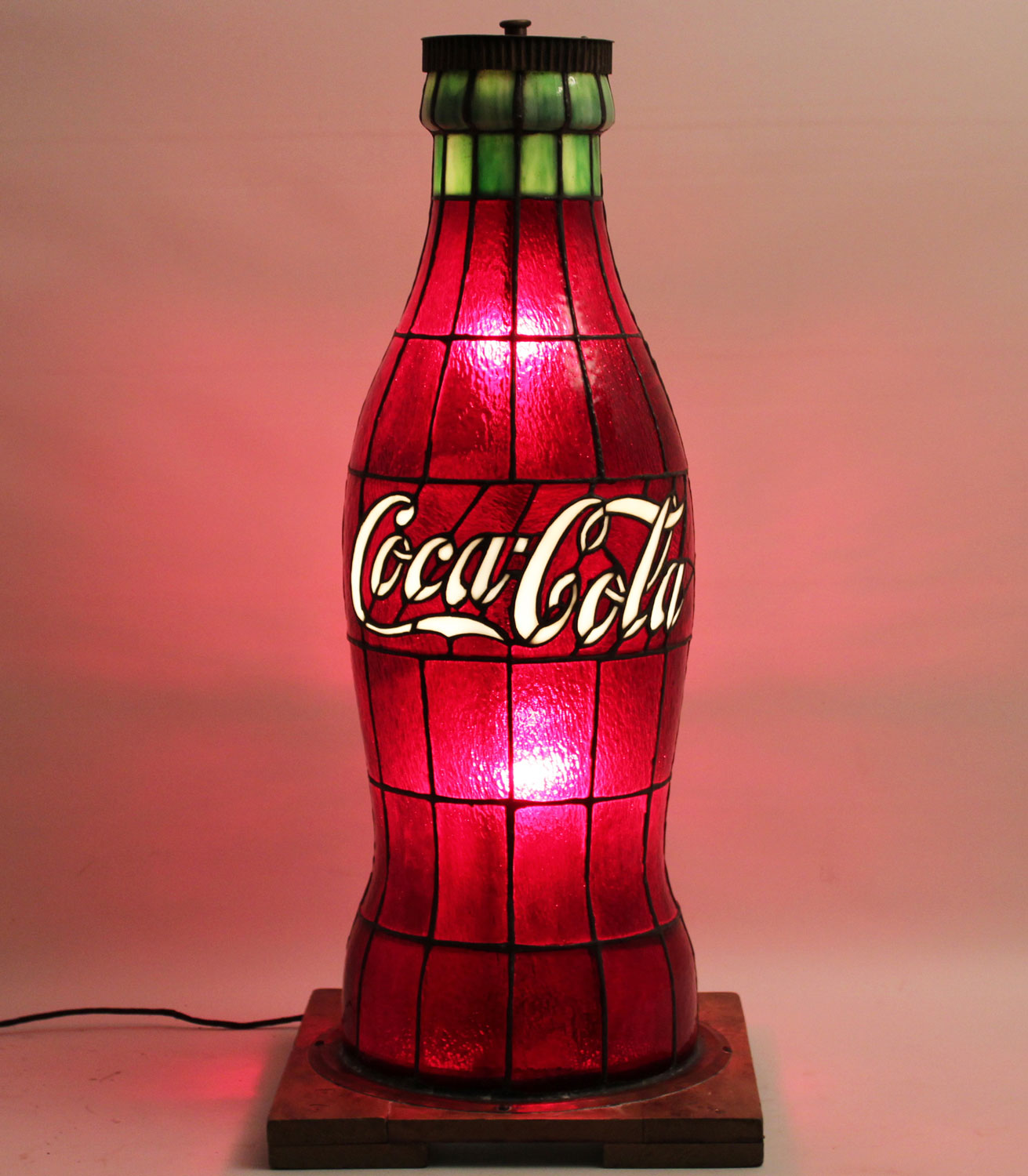 Rare Leaded Glass Coca Cola Promotional Lamp, Circa 1920